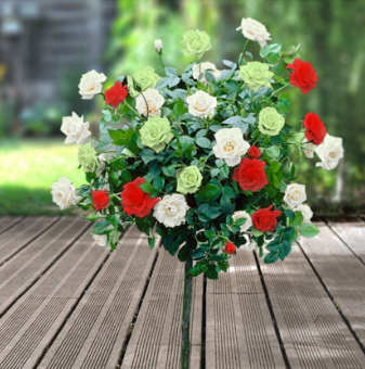 Бяло, зелено, червена щамбова роза - Дърво 110 - 140 см...